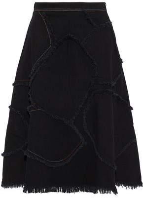 Sonia Rykiel Frayed Patchwork Denim Skirt