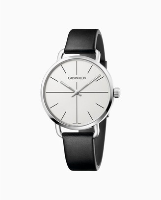 Calvin Klein Even Black Silver Leather Watch