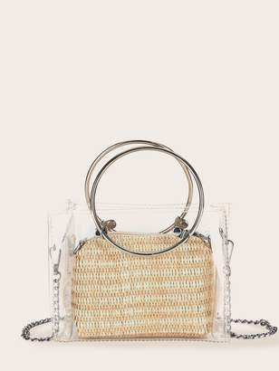 Shein Clear Satchel Bag With Woven Inner Pouch