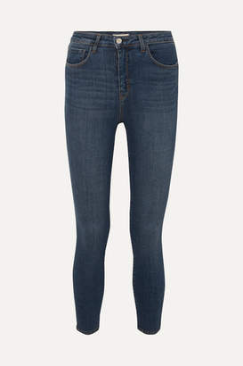 L'Agence Margot Cropped High-rise Skinny Jeans - Midnight blue