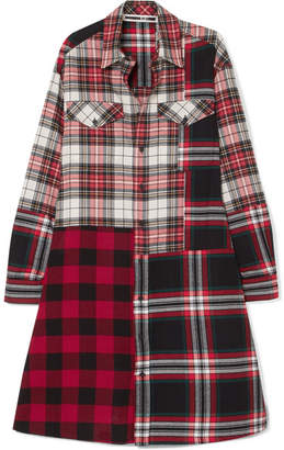 McQ Patchwork Cotton Shirt Dress - Red