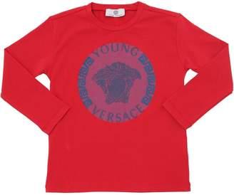 Versace Logo Cotton Jersey Long Sleeve T-Shirt