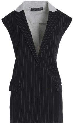 Paneled Pinstriped Cady And Jersey Vest