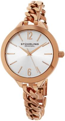 Stuhrling Original Women's 624M.03 Vogue Swiss Quartz 16K Rose Tone Stainless Steel Chain-Link Bracelet Watch