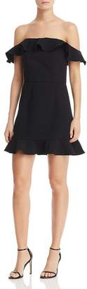 French Connection Whisper Light Flounced Square-Neck A-Line Mini Dress