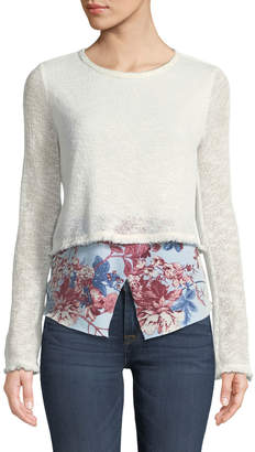 Couture Casual Floral-Hem Twofer Sweater, White