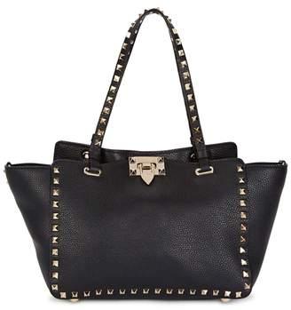 Valentino Rockstud Medium Black Leather Tote