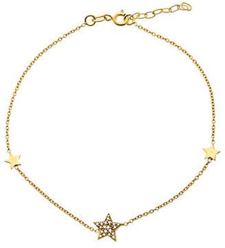 Lord & Taylor Cubic Zirconia and 18K Gold-Plated Sterling Silver Star Charm Anklet $25 thestylecure.com