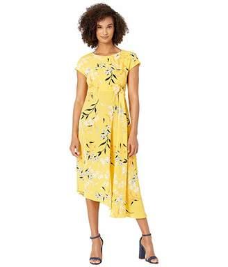 Donna Morgan Cap Sleeve Crepe Asymmetrical Hemline Dress