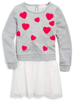 Design History Girls' Sweatshirt Tutu Dress with Heart Patches - Little Kid