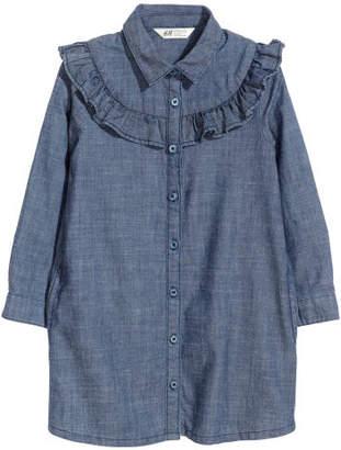 H&M Shirt dress with a frill - Blue