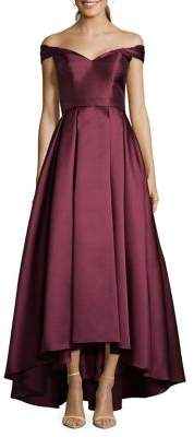 Xscape Evenings Petite High-Low Off-the-Shoulder Ball Gown