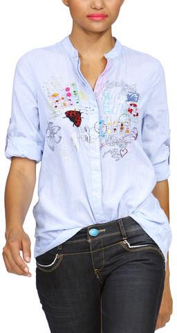 Desigual Short Sleeve Shirt Blue Stripe