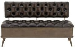 Industrial Iron, Wood, and Faux Leather Upholstered Storage Bench