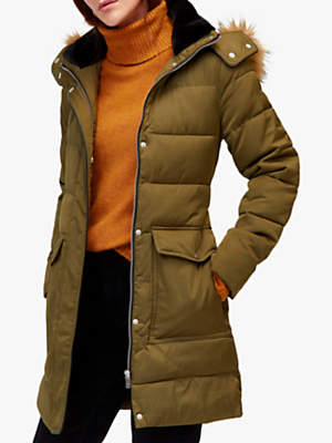 a13bd428ec1 at John Lewis and Partners · Warehouse Long Padded Coat, Khaki