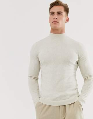 Asos Design DESIGN cotton turtle neck jumper in oatmeal