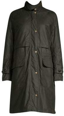 Barbour Faux-Fur Trimmed Floree Waxed Coat