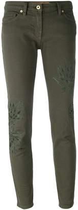 Blumarine leaf patch skinny trousers