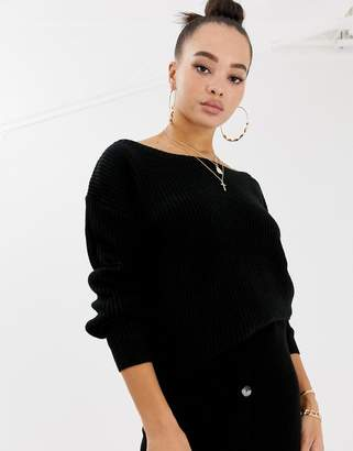 Missguided off shoulder sweater in black