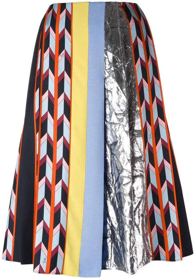 Emilio Pucci metallic detailing A-line skirt