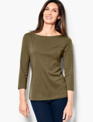 Talbots Three-Quarter Sleeve Bateau Neck Tee