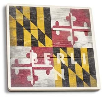 Rustic Maryland State Flag - Lantern Press Artwork (Set of 4 Ceramic Coasters - Cork-backed, Absorbent)