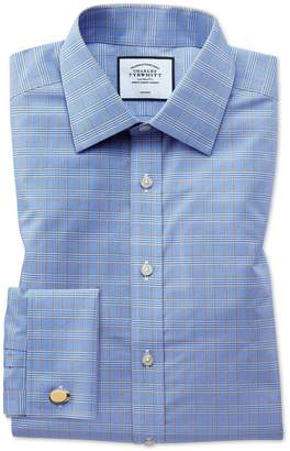 Charles Tyrwhitt Classic Fit Non-Iron Blue and Gold Prince Of Wales Check Cotton Formal Shirt Double Cuff Size 15/33