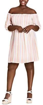 City Chic Plus Island Stripe Off-the-Shoulder Dress