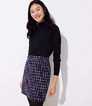 LOFT Petite Tweed Pocket Shift Skirt