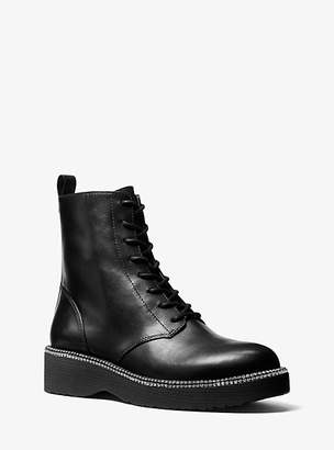Michael Kors Tavie Leather Combat Boot