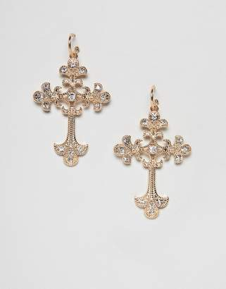 Missguided baroque cross earrings in gold