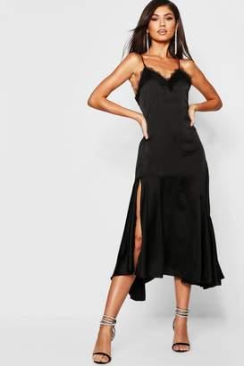 boohoo Satin Strappy Lace Trim Midaxi Dress