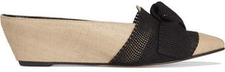 Trademark - Adrien Bow-embellished Mesh And Jute Wedge Slippers - Neutral