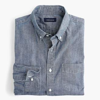 J.Crew Stretch one-pocket chambray shirt in rinsed indigo