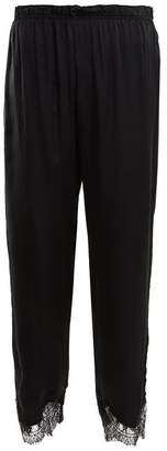 Icons Buttercup Lace Trimmed Silk Pyjama Trousers - Womens - Black