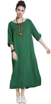 Anysize Sides Slit Cotton Spring Summer Dress Plus Size Dress Y140