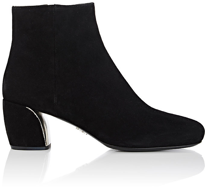 Prada Women's Metal-Detail Suede Ankle Boots
