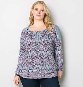 Avenue Medallion Lace Peasant Top