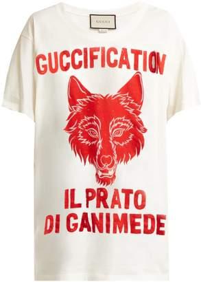 Gucci Wolf-print cotton-jersey T-shirt