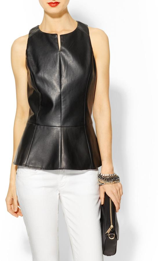 Juicy Couture Tinley Road Vegan Leather Peplum Top