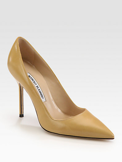 Manolo Blahnik BB Leather Point-Toe Pumps