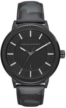 Armani Exchange Camo Leather Strap Watch, 45mm