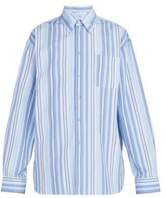 Marni Striped Cotton Shirt - Mens - Light Blue