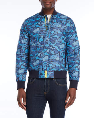 Andrew Marc Blue Camo Insulated Bomber Jacket