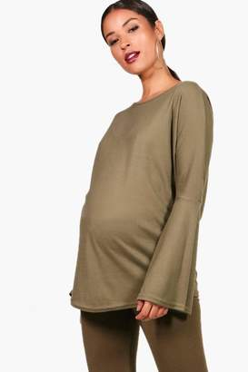 boohoo Maternity Flare Sleeve Ribbed Jumper