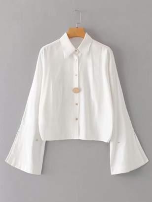 Shein Button Front Split Sleeve Blouse