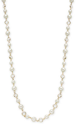 "Charter Club Gold-Tone Crystal & Imitation Pearl Strand Necklace, 42"" + 2"" extender"