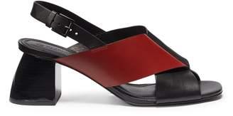 Mercedes Benz Castillo 'Hae Mid' colourblock cross strap leather slingback sandals