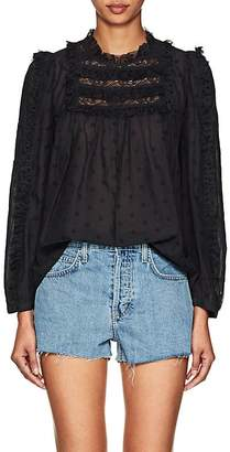 Ulla Johnson Women's Bailey Bibbed Dotted Voile Blouse