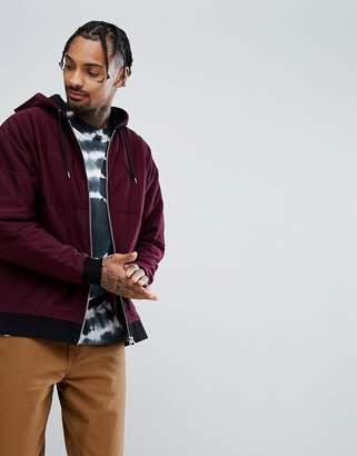 Asos Design Oversized Zip Up Hoodie In Burgundy Quilted Puffer